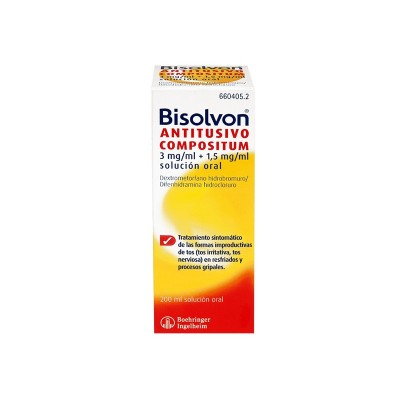 BISOLVON ANTITUSIVO COMPOSITUM 3 mg/ml + 1,5 mg/ml SOLUCION ORAL 1 FRASCO 200 ml